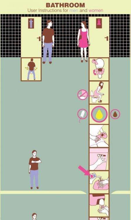 Как мужчины и женщины ходят в туалет (2 рисунка)